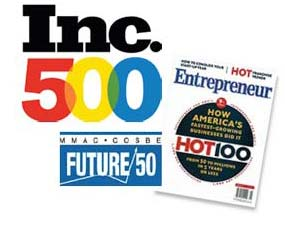 Inc 500 Magazine and Entrepreneur Hot 100 art